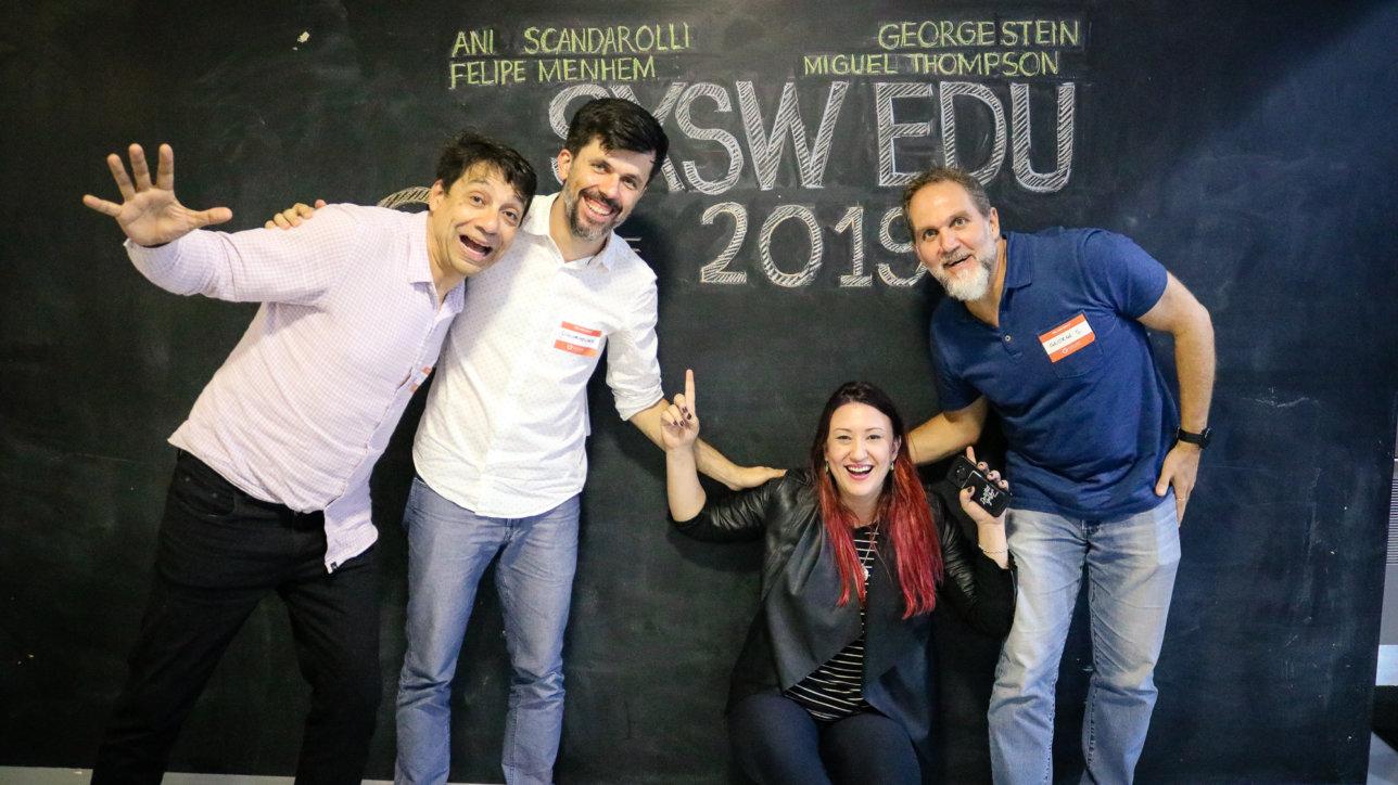 Miguel Thompson, Felipe Menhem, Ani Scandarolli e George Stein no SXSW EDU @ Explore | Foto: Gui Alves