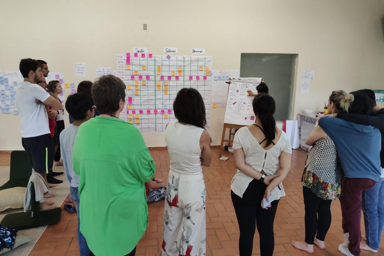 Participantes da Imersão em um grande salão montando a agenda de atividades.